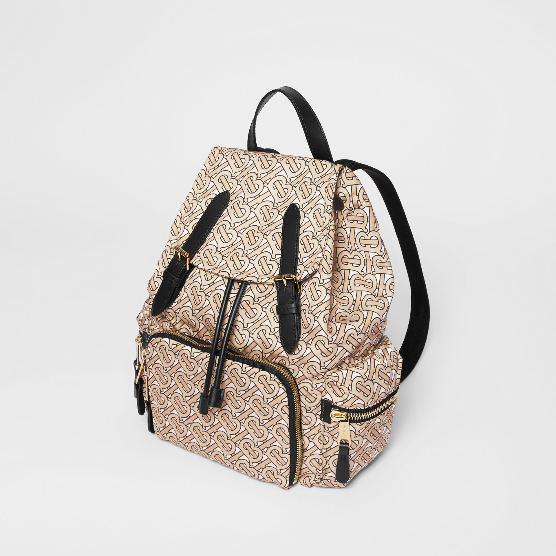 The Medium Rucksack in Monogram Print Nylon in Beige - Women | Burberry Australia - gallery image 3