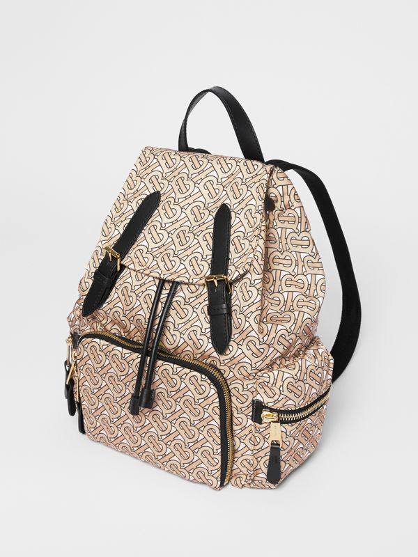 The Medium Rucksack in Monogram Print Nylon in Beige - Women | Burberry Australia - cell image 3