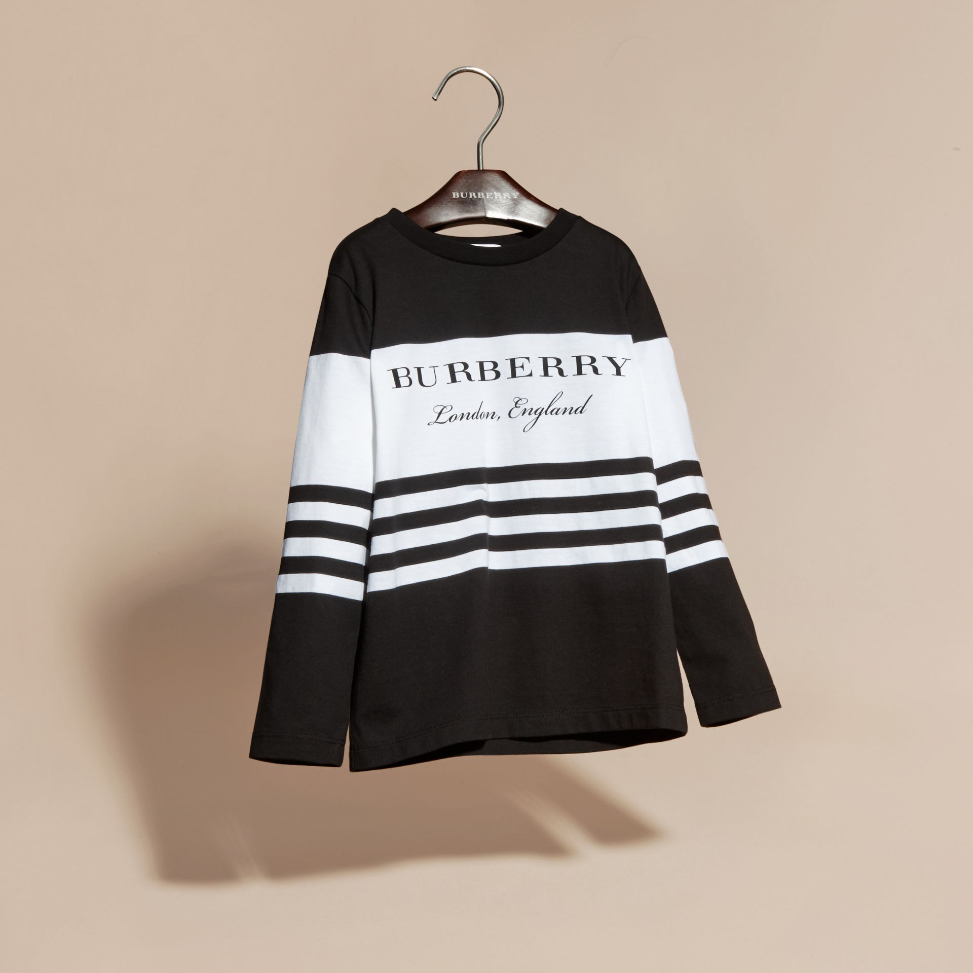 Black Long-sleeved Striped Cotton T-shirt Black - gallery image 3