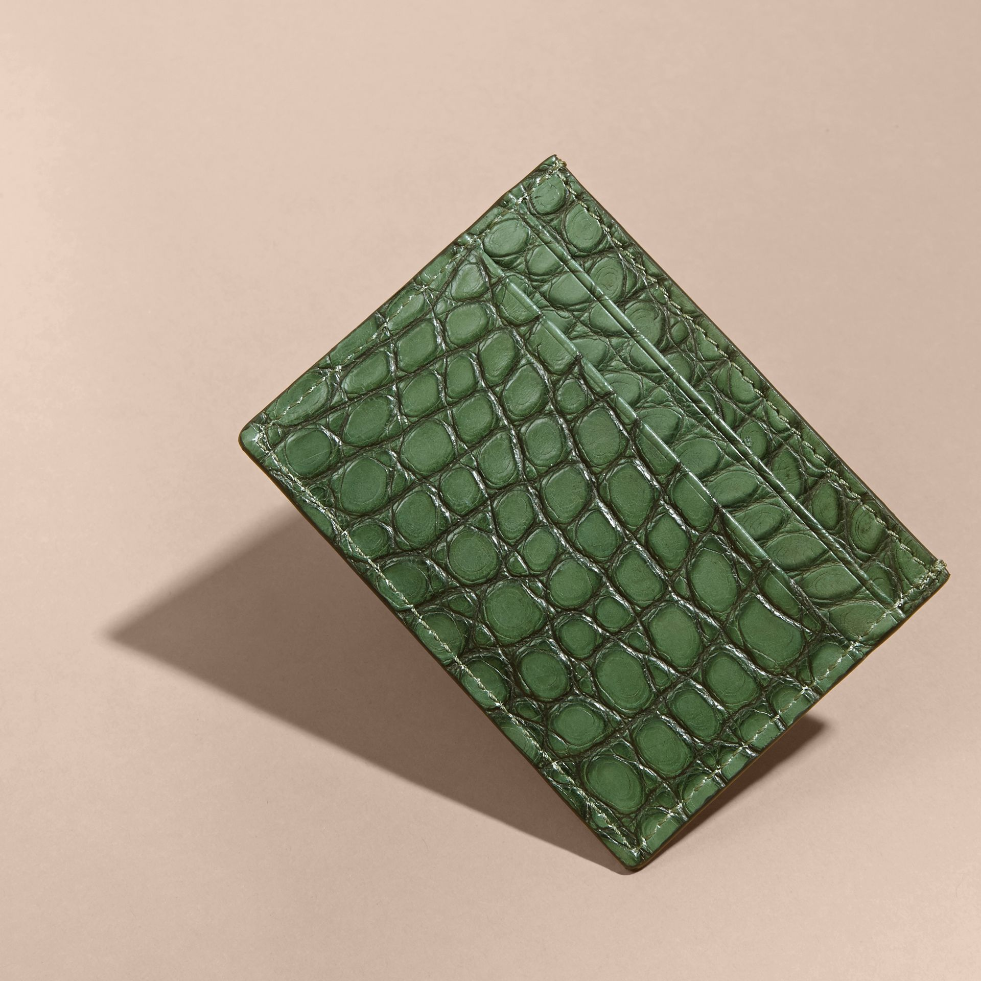 Sage Alligator Leather Card Case - gallery image 3