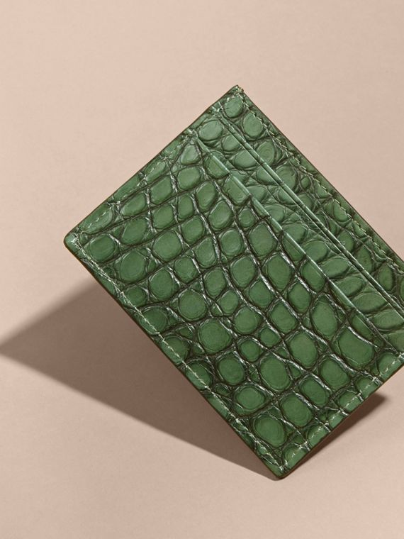 Sage Alligator Leather Card Case - cell image 2