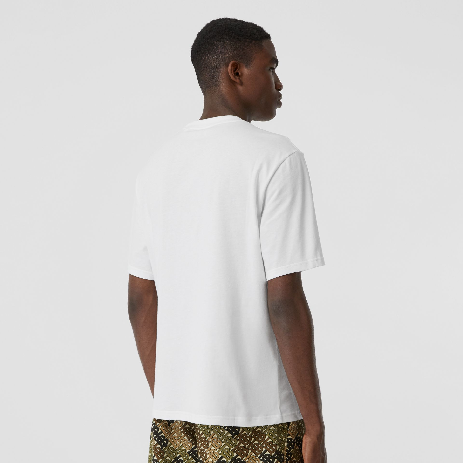 Embroidered Check Logo Cotton T-shirt in White - Men | Burberry - gallery image 2
