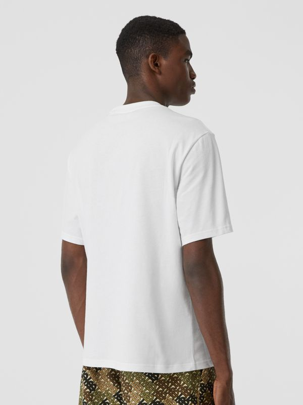 Embroidered Check Logo Cotton T-shirt in White - Men | Burberry - cell image 2