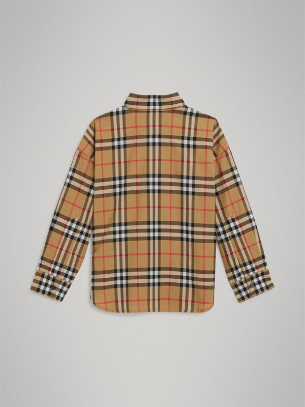 Vintage Check Cotton Shirt in Antique Yellow - Girl | Burberry - cell image 3