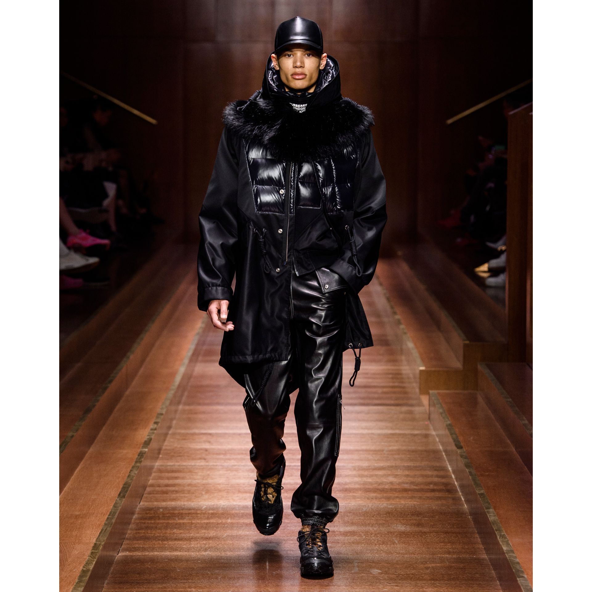 Puffer Detail Nylon and Neoprene Hooded Jacket in Black - Men | Burberry - gallery image 5