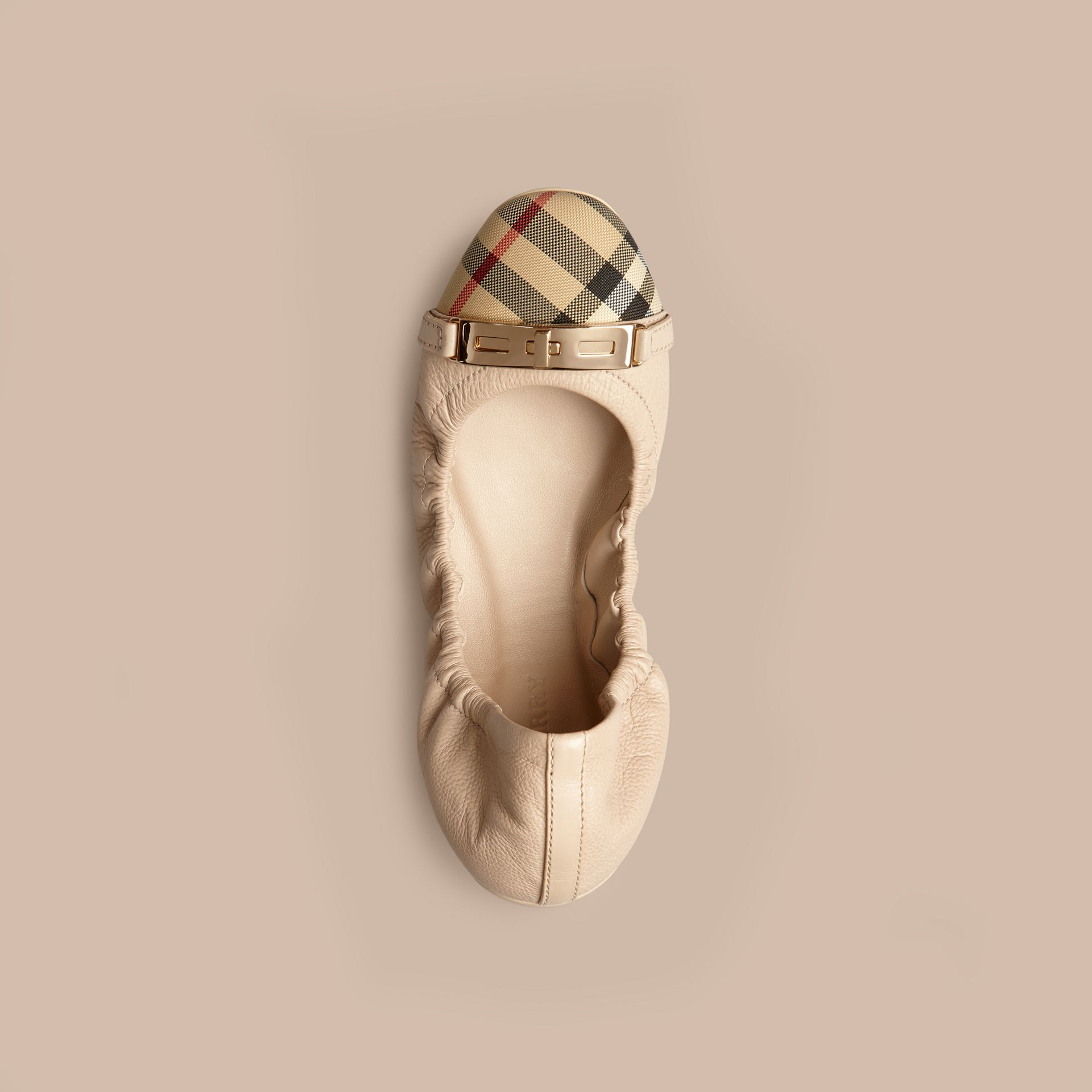 Horseferry Check Leather Ballerinas Rosy Beige - gallery image 3