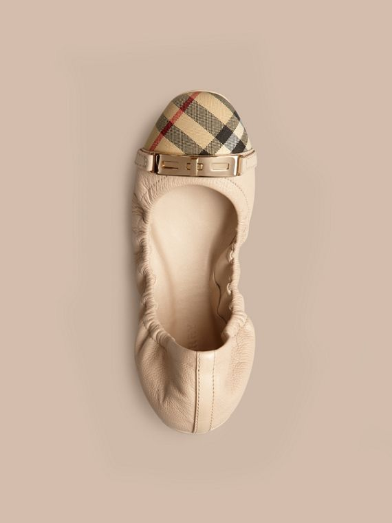 Horseferry Check Leather Ballerinas Rosy Beige - cell image 2