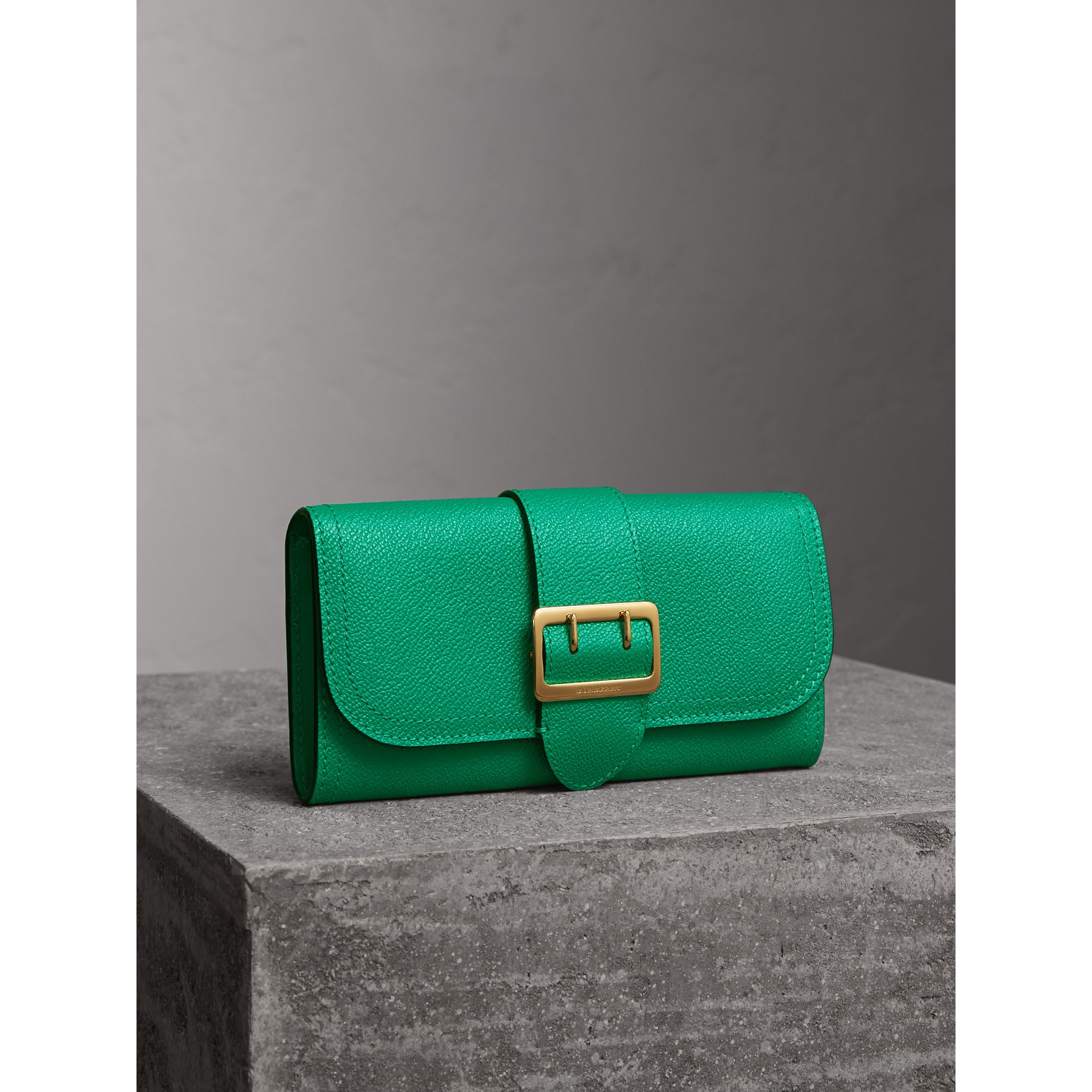 Textured Leather Continental Wallet in Bright Pigment Green - gallery image 1