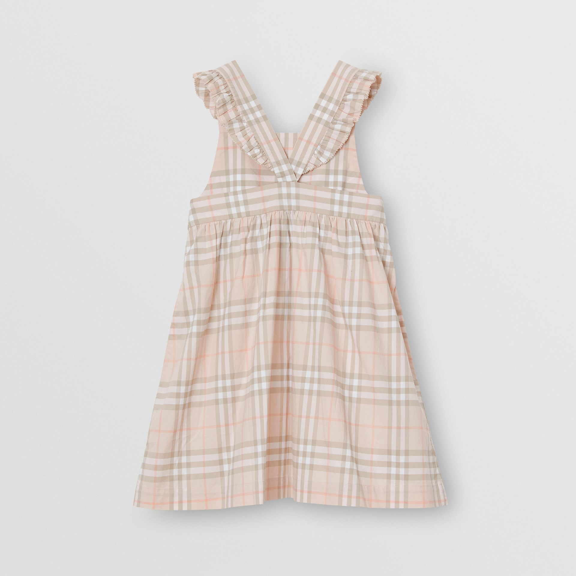 Ruffle Detail Check Cotton Dress in Pale Pink Apricot | Burberry Singapore - gallery image 3