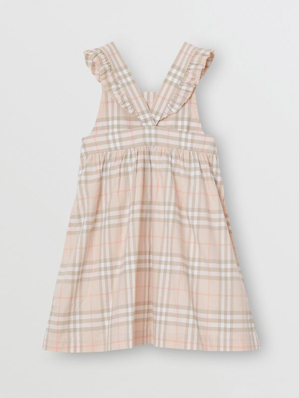 Ruffle Detail Check Cotton Dress in Pale Pink Apricot | Burberry Singapore - cell image 3