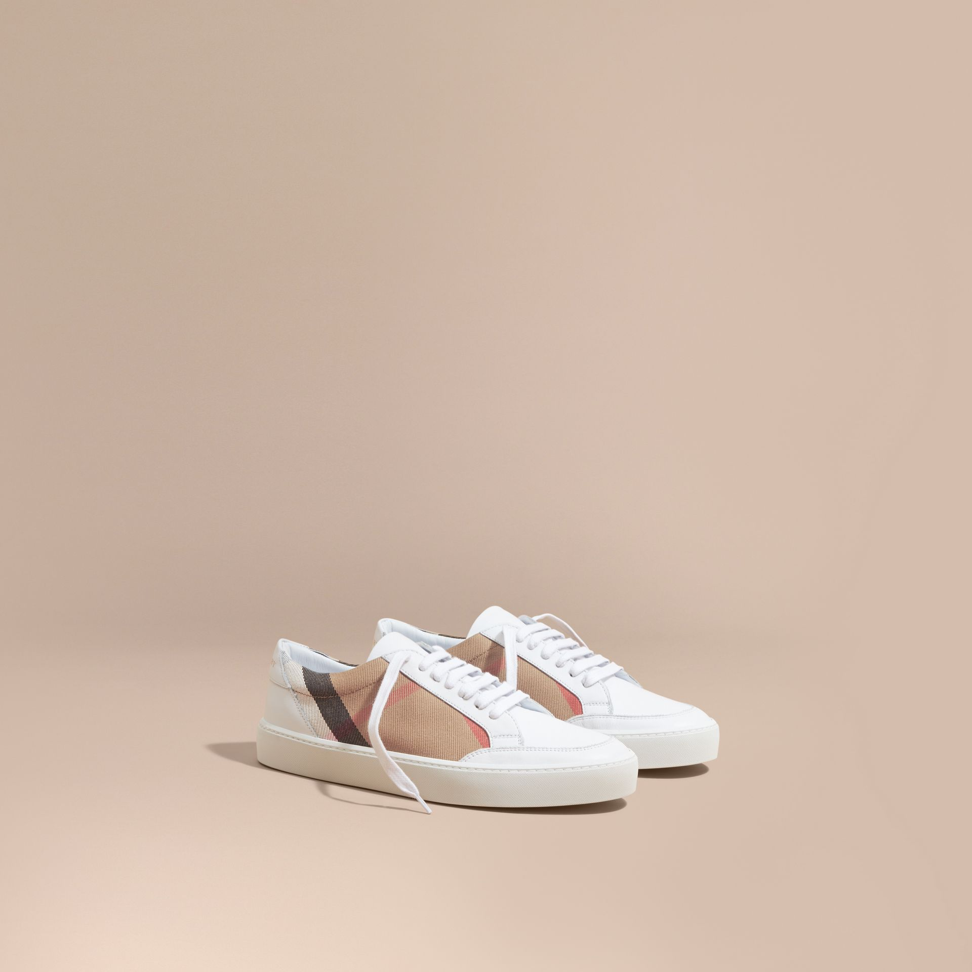 Check Detail Leather Trainers in House Check/ Optic White - Women | Burberry - gallery image 1