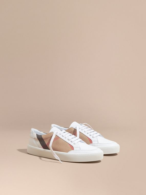 Check Detail Leather Trainers in House Check/ Optic White - Women | Burberry Canada