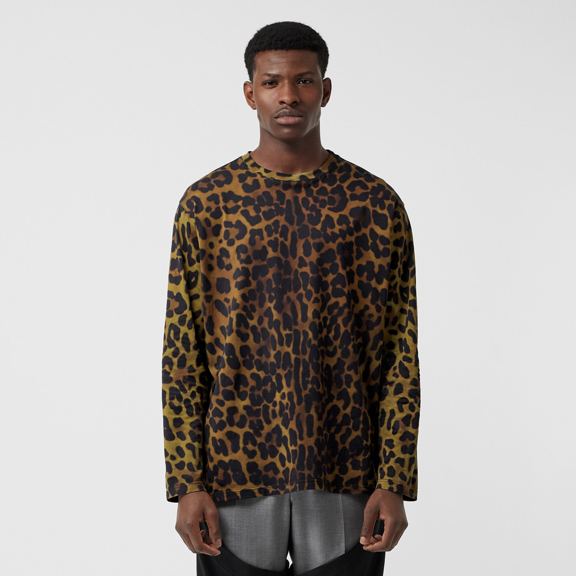 Leopard Print Cotton Oversized Top in Khaki Green | Burberry - gallery image 0