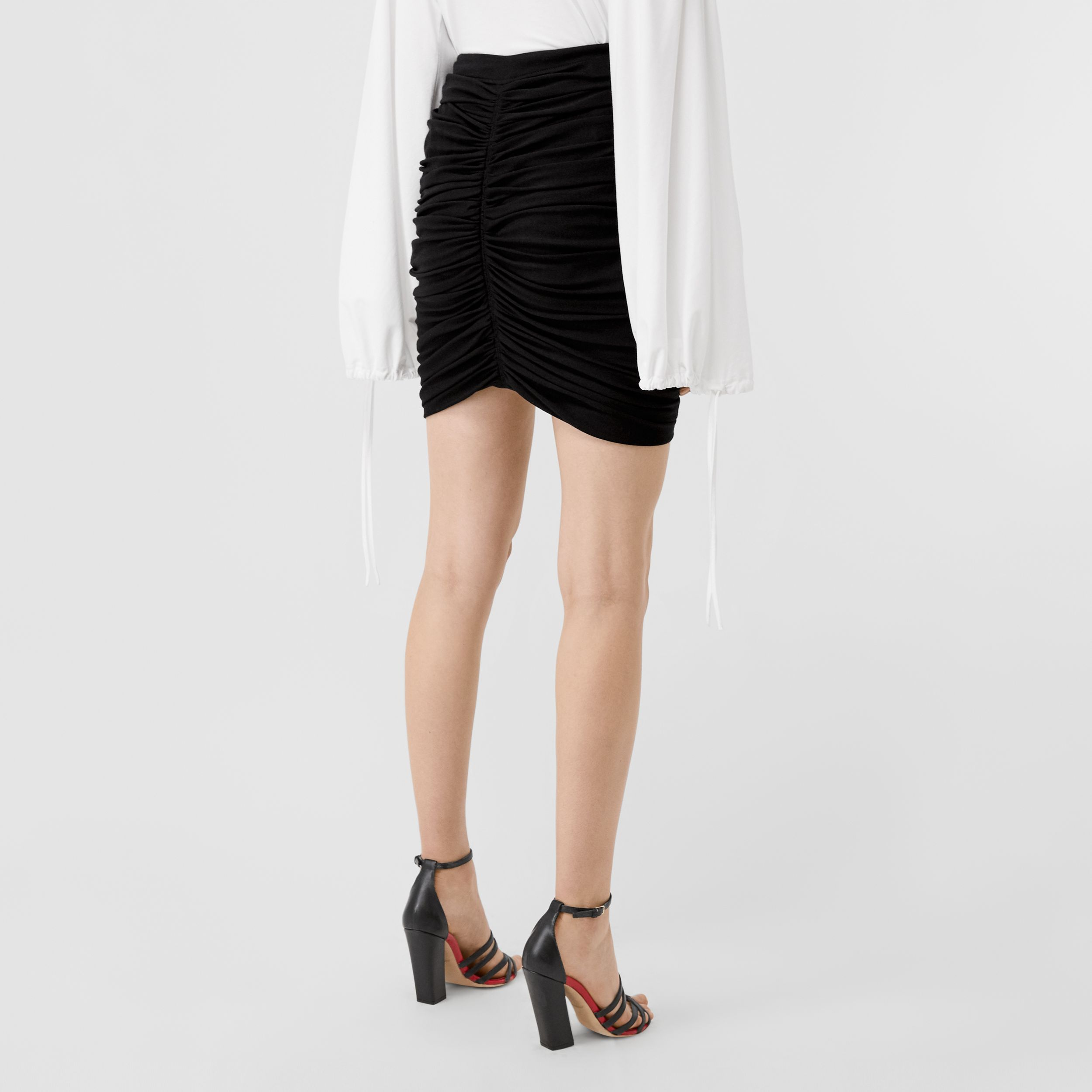 Ruched Jersey Mini Skirt in Black - Women | Burberry Australia - 3