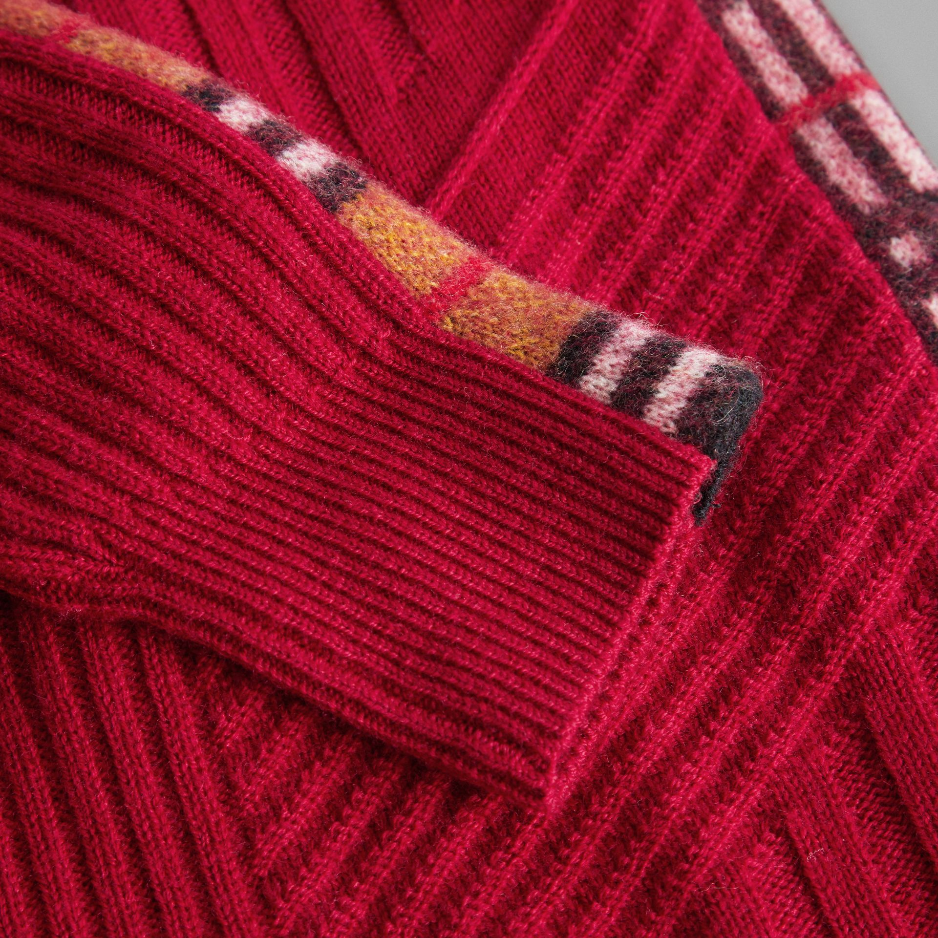 Check Detail Wool Cashmere Dress in Burgundy Red | Burberry Australia - gallery image 1