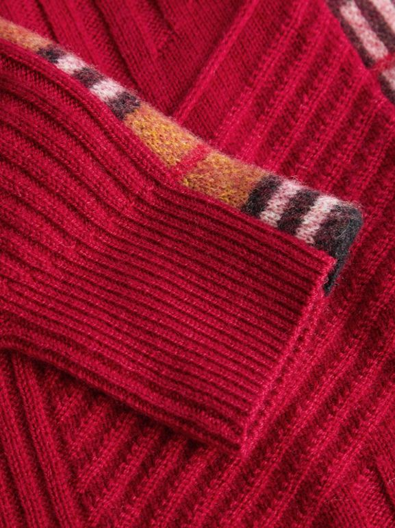 Check Detail Wool Cashmere Dress in Burgundy Red | Burberry Australia - cell image 1