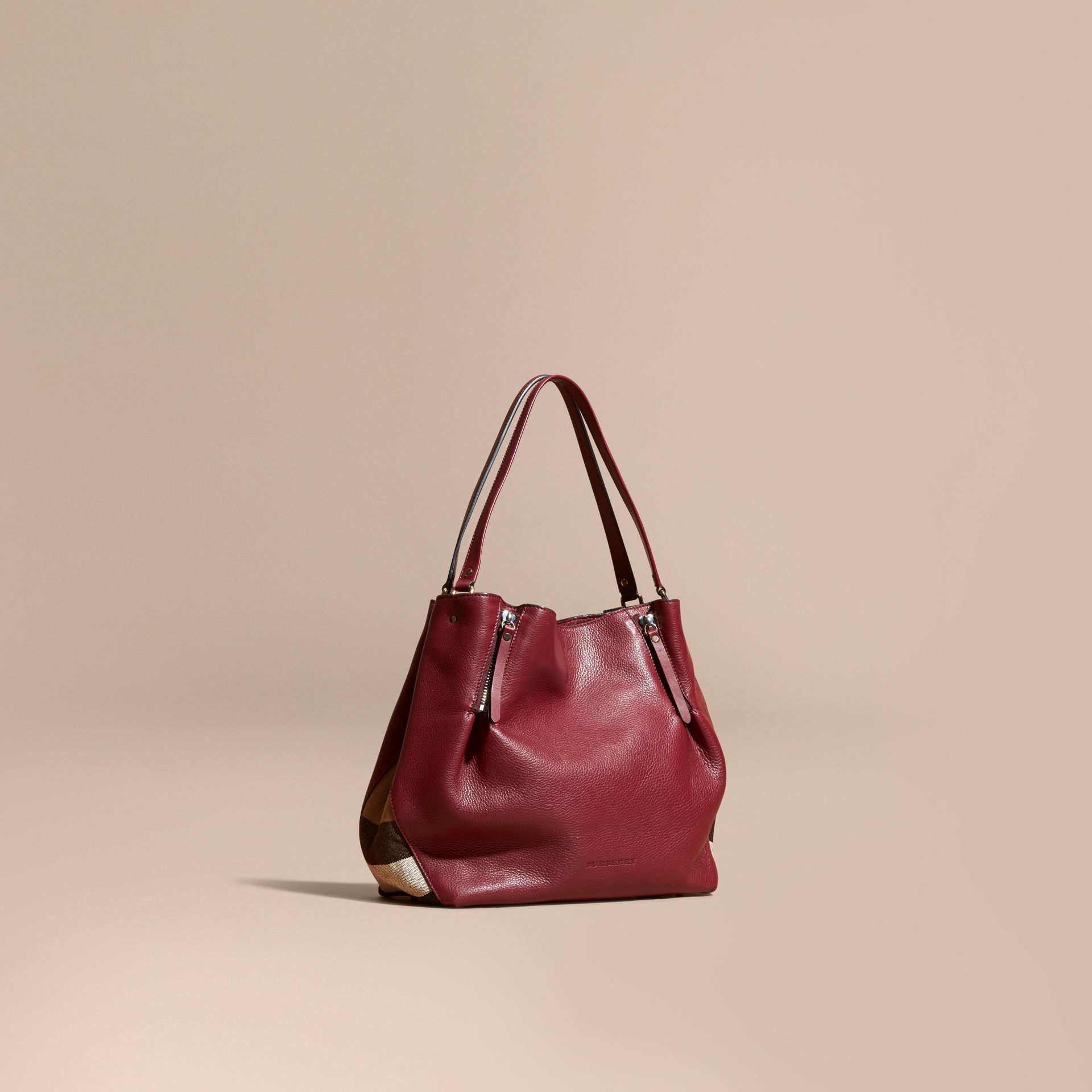 Burgundy red Medium Check Detail Leather Tote Bag - gallery image 1