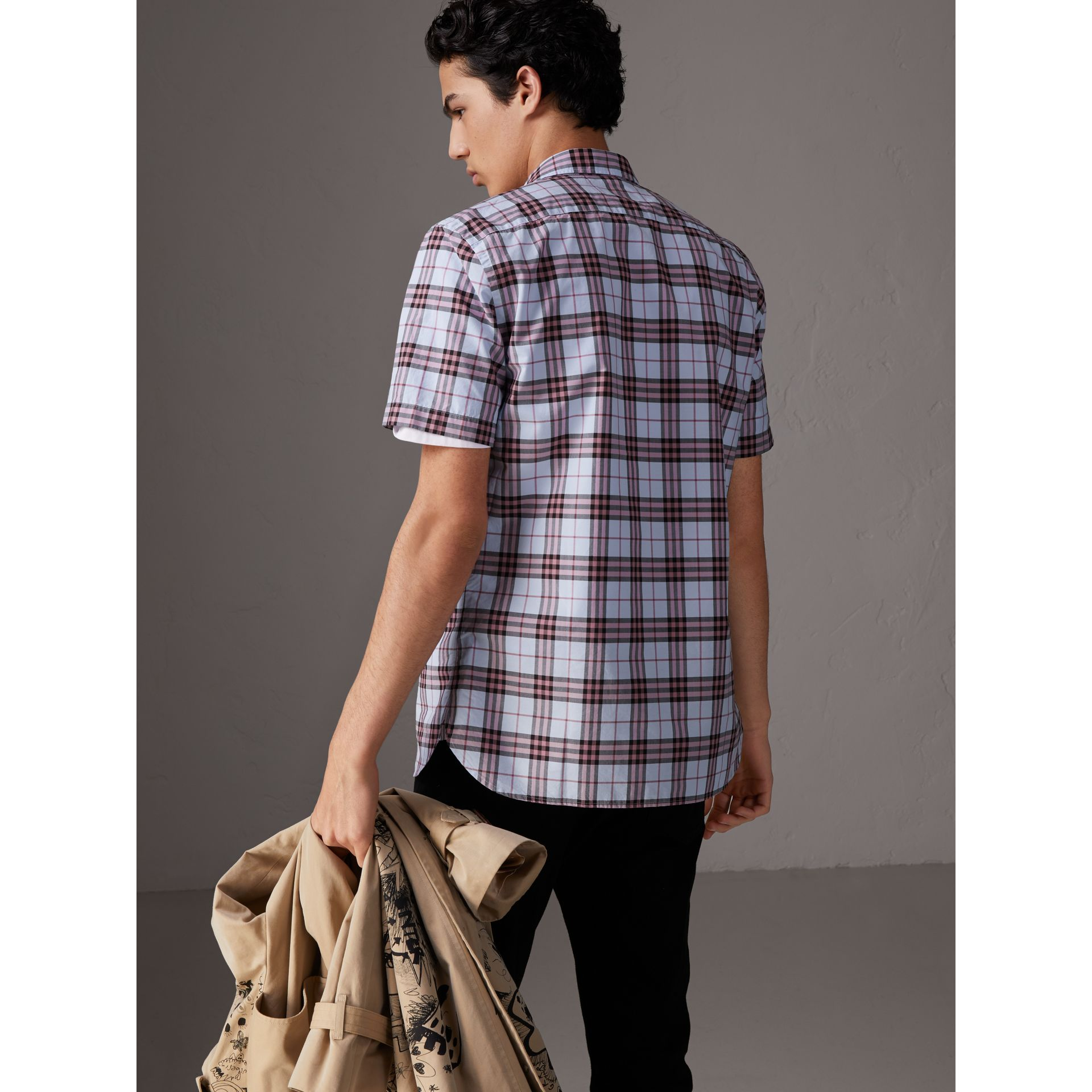 Short-sleeve Check Cotton Shirt in Lavender Blue - Men | Burberry - gallery image 2