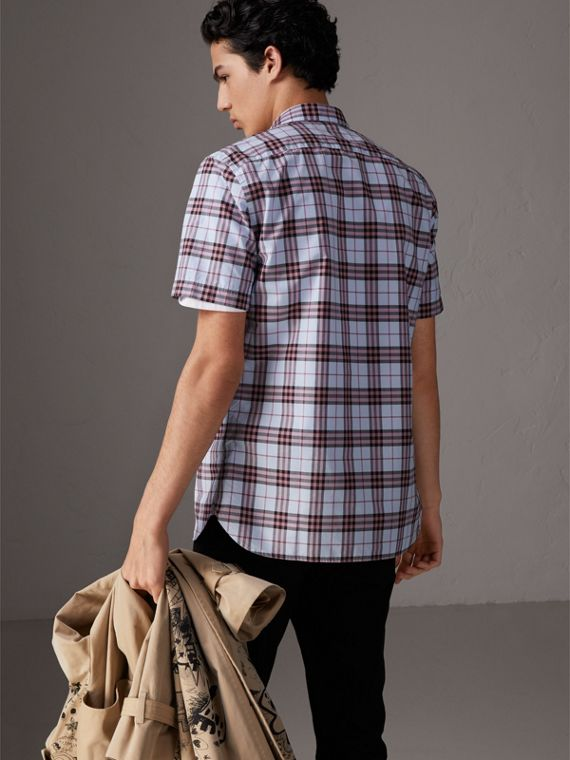 Short-sleeve Check Cotton Shirt in Lavender Blue - Men | Burberry - cell image 2