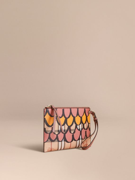 Trompe L'oeil Haymarket Check and Leather Pouch in Dusty Pink
