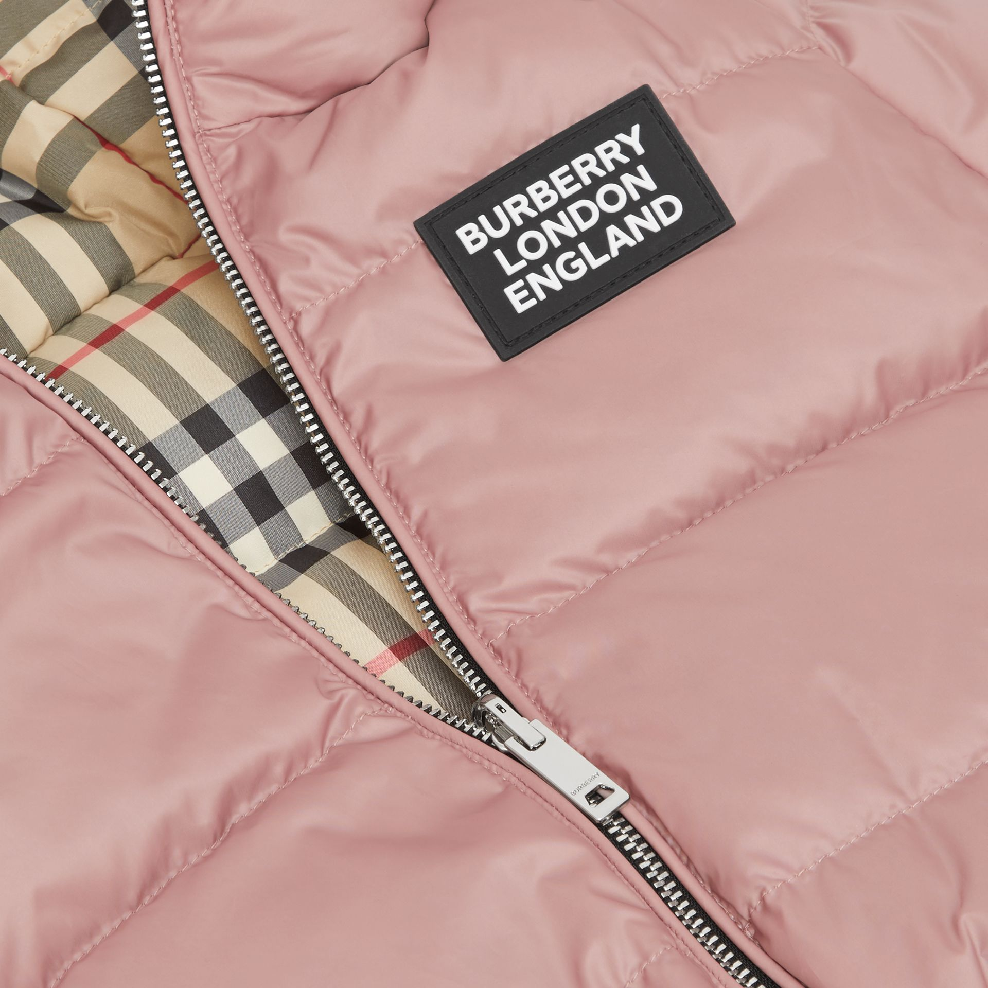 Reversible Vintage Check Down-filled Puffer Jacket in Lavender Pink - Children | Burberry - gallery image 1