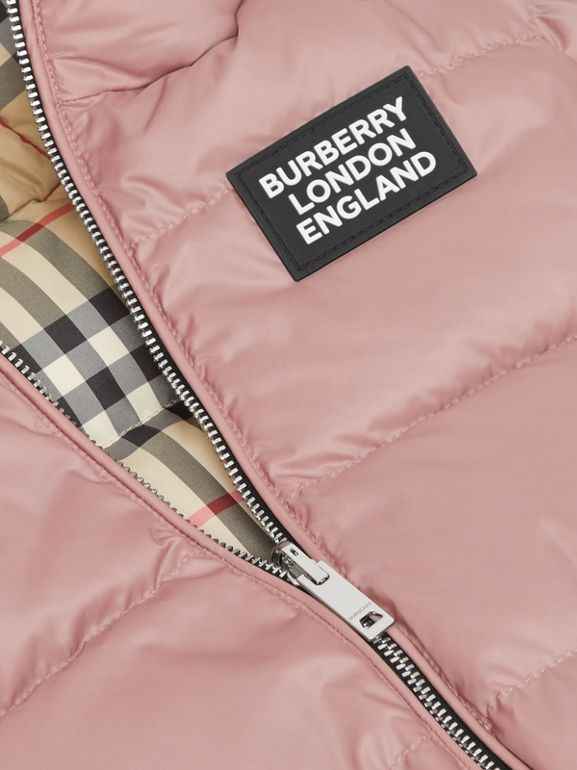 Reversible Vintage Check Down-filled Puffer Jacket in Lavender Pink - Children | Burberry United Kingdom - cell image 1
