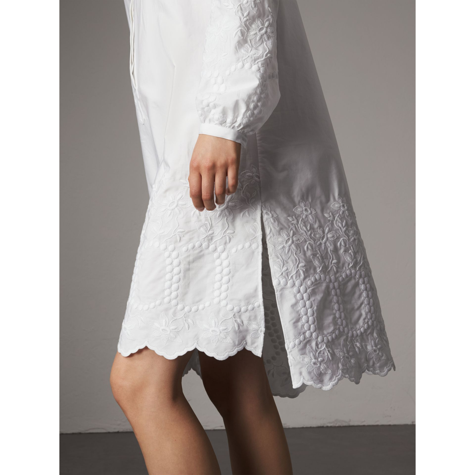 Embroidered Cotton Poplin Shirt Dress in White - Women | Burberry - gallery image 1