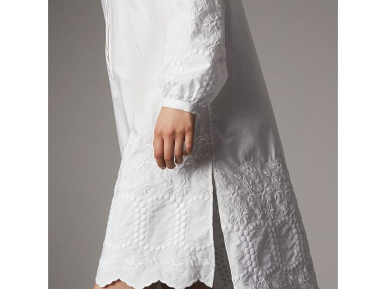 Embroidered Cotton Poplin Shirt Dress in White - Women | Burberry Singapore - cell image 1