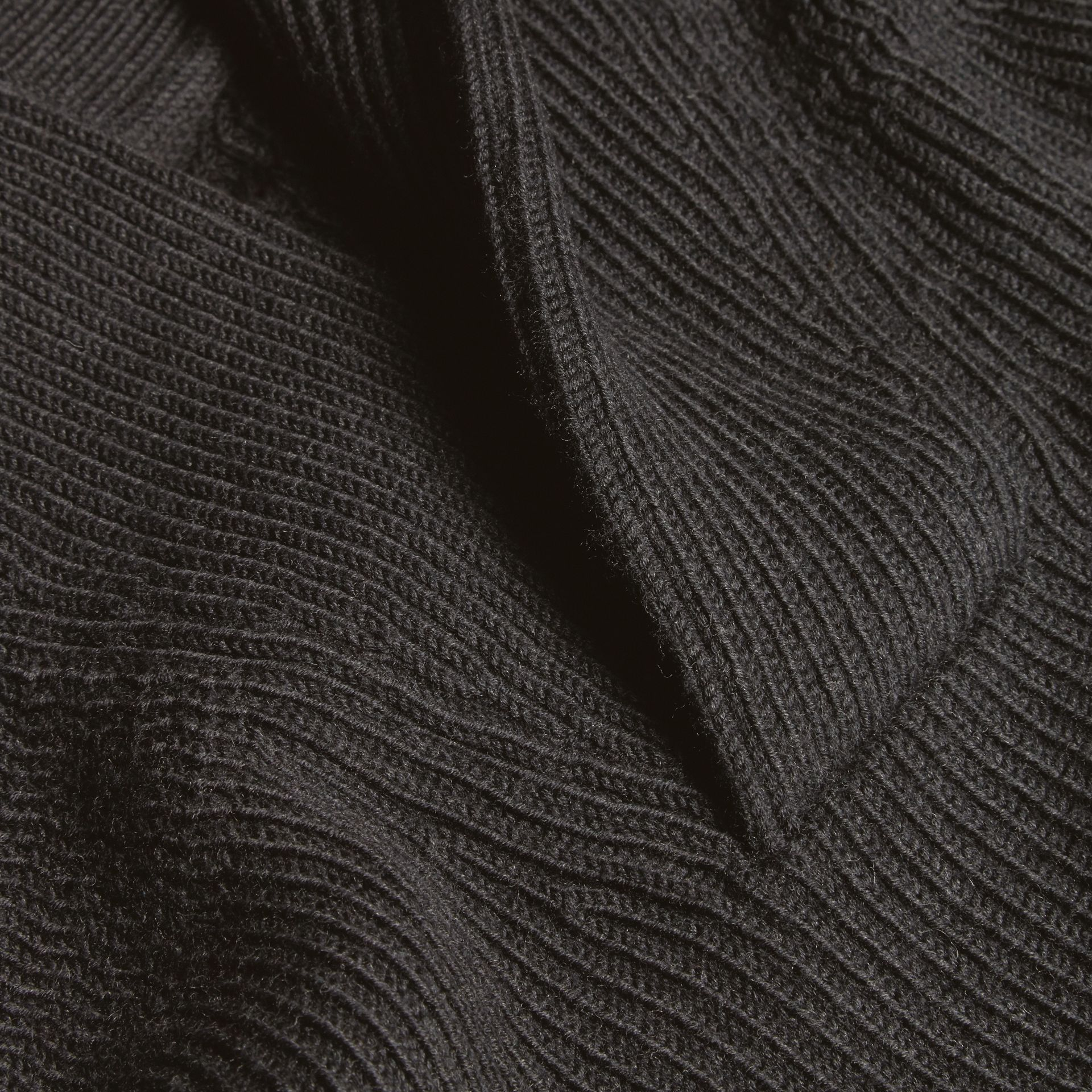 Charcoal Shawl Collar Ribbed Wool Silk Sweater - gallery image 2