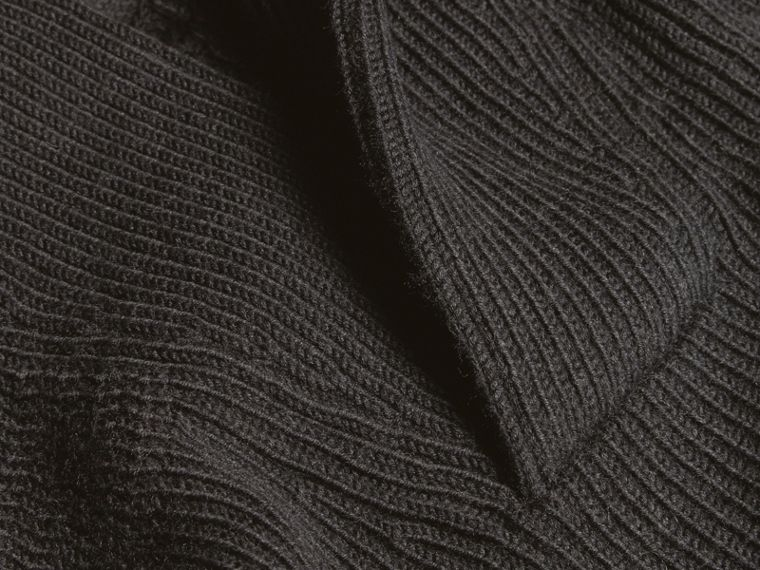 Charcoal Shawl Collar Ribbed Wool Silk Sweater - cell image 1