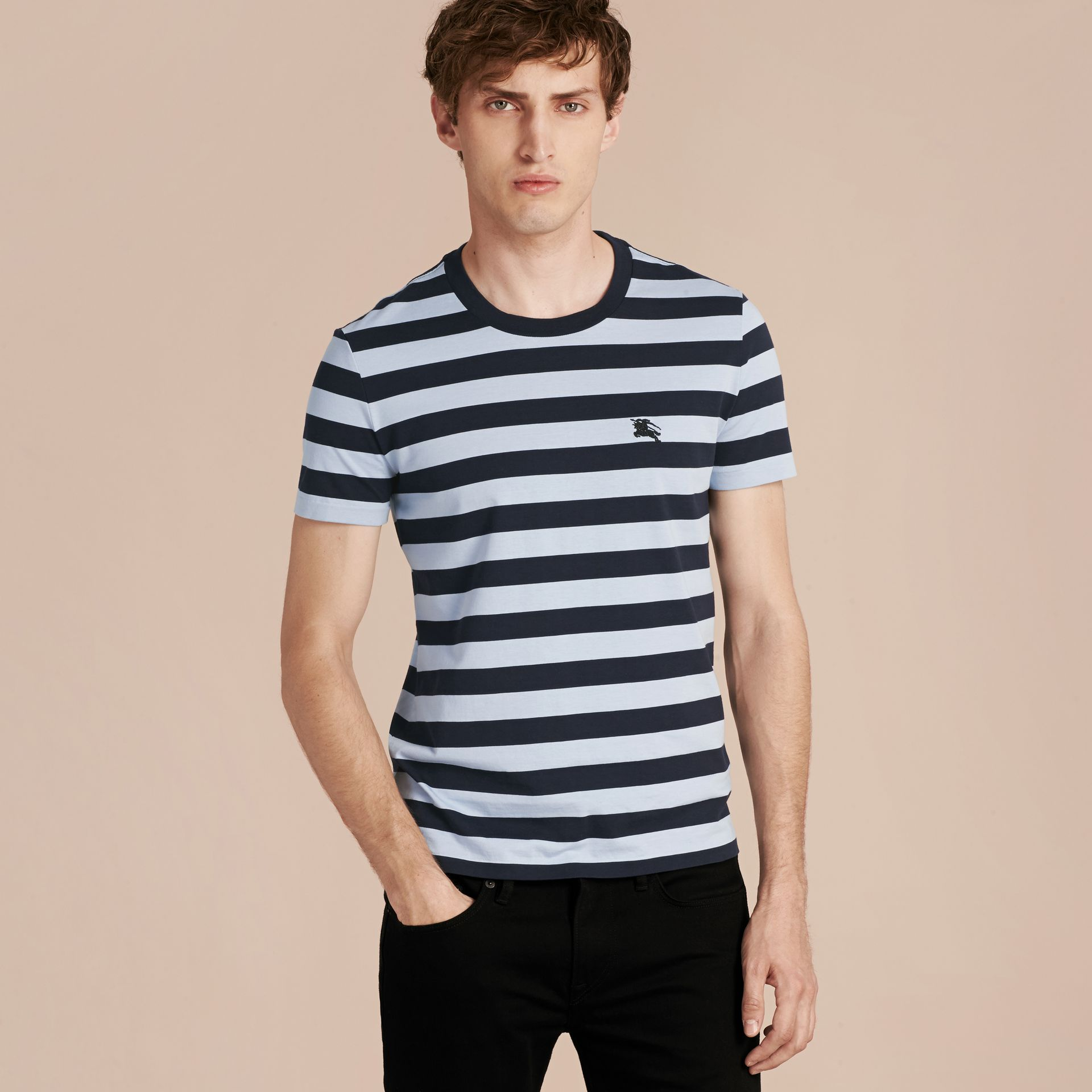 Navy Striped Cotton T-Shirt Navy - gallery image 5