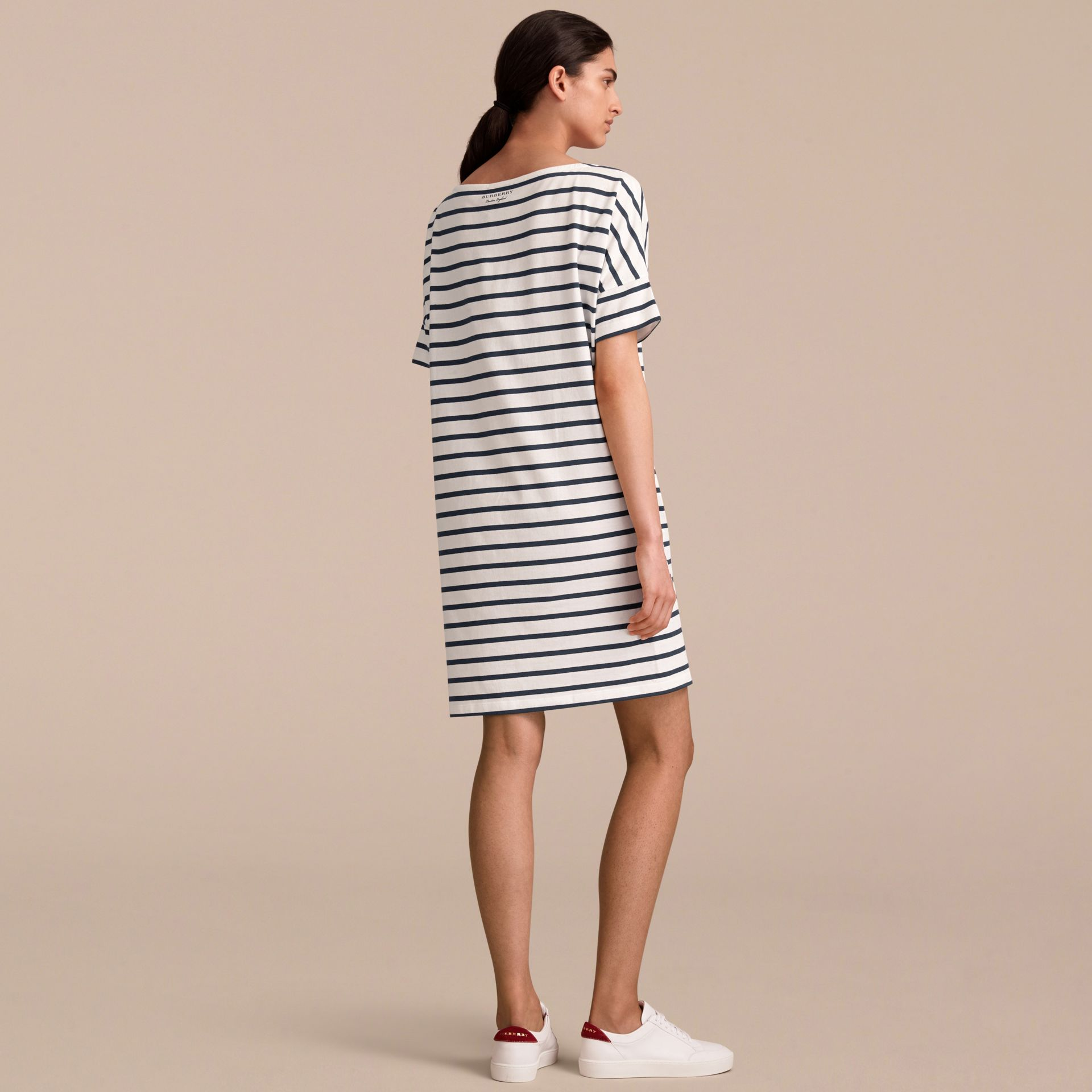 Short-sleeve Striped Jersey Dress - Women | Burberry - gallery image 3