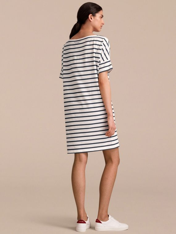 Short-sleeve Striped Jersey Dress - Women | Burberry - cell image 2