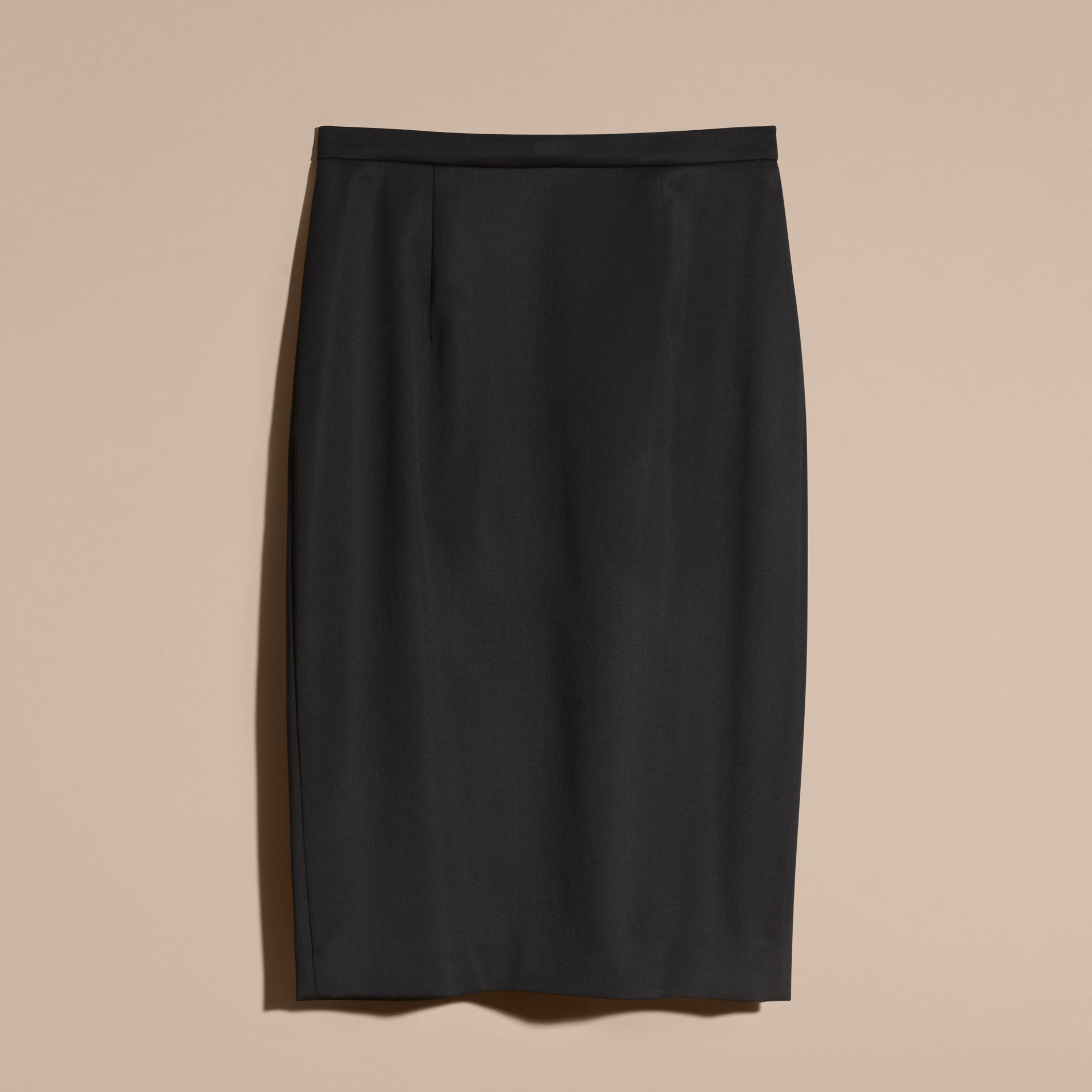 Stretch Virgin Wool Tailored Pencil Skirt in Black - gallery image 4