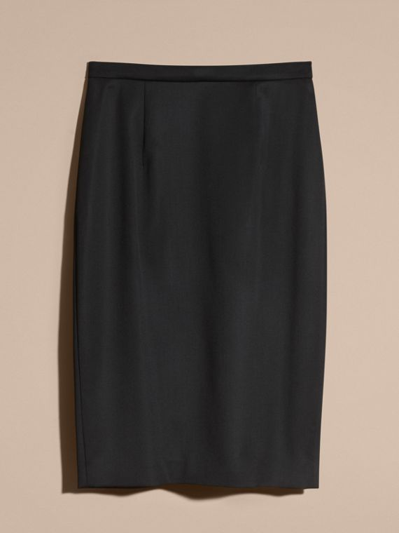 Stretch Virgin Wool Tailored Pencil Skirt in Black - cell image 3