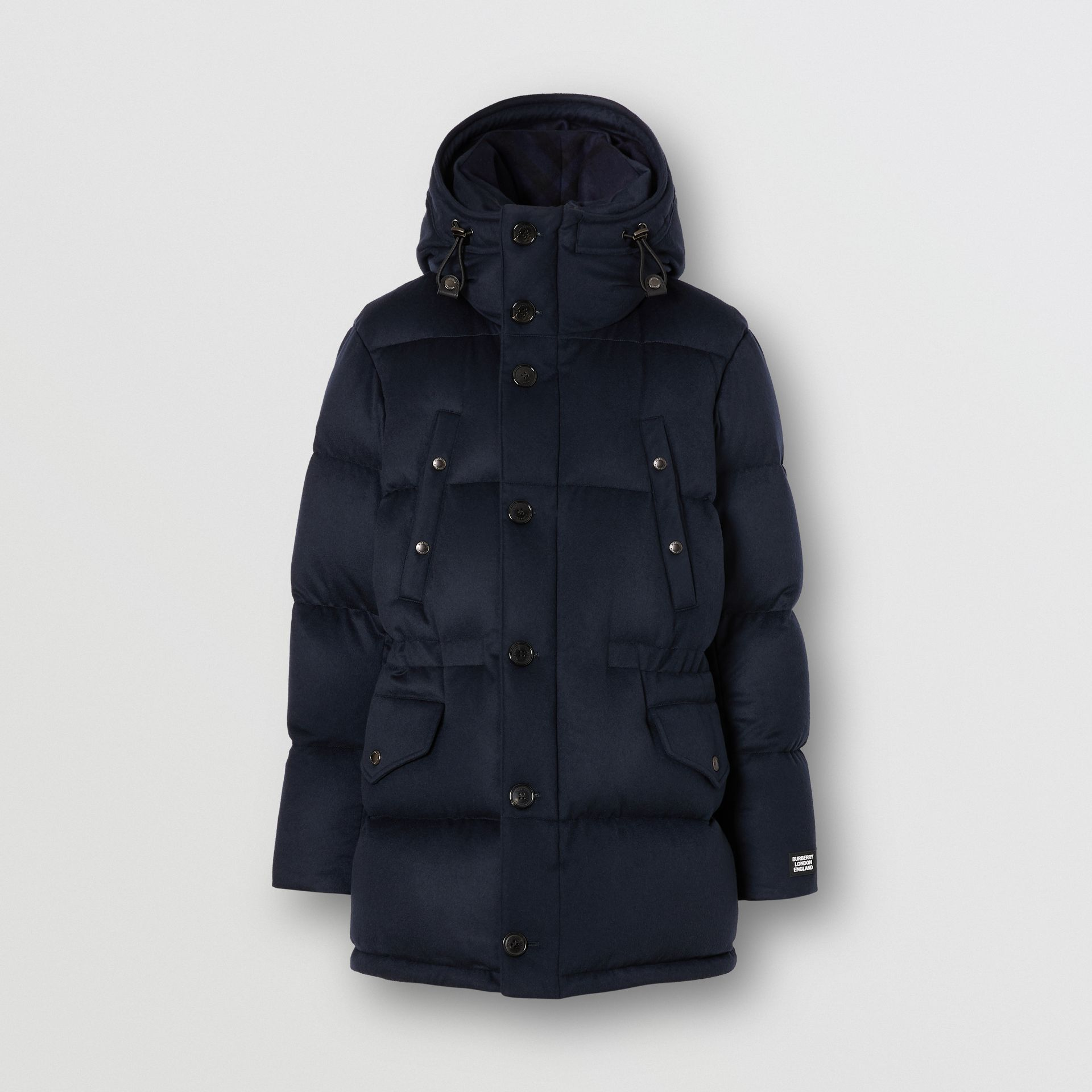 Cashmere Hooded Puffer Coat in Navy - Men | Burberry - gallery image 3