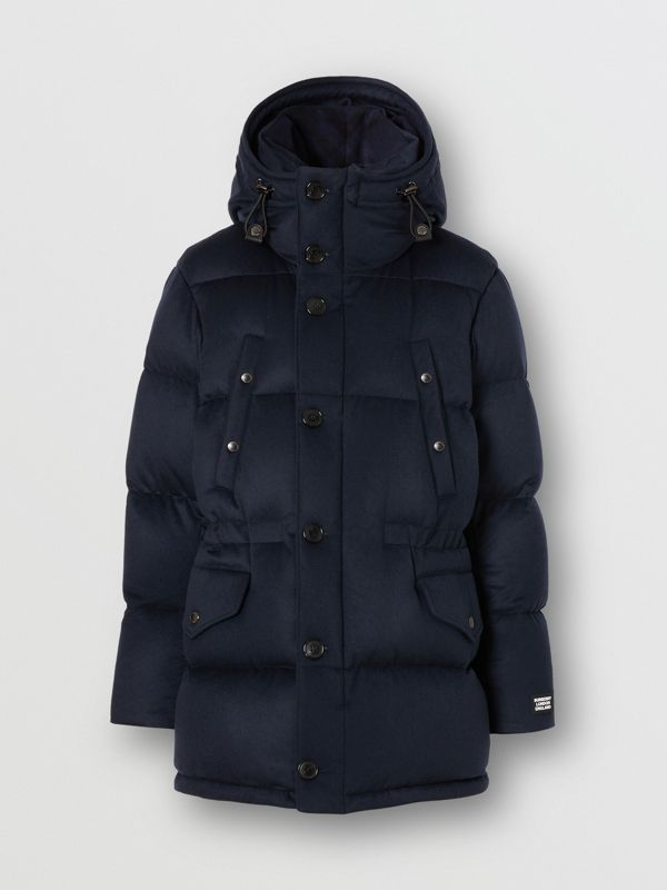 Cashmere Hooded Puffer Coat in Navy - Men | Burberry United States - cell image 3
