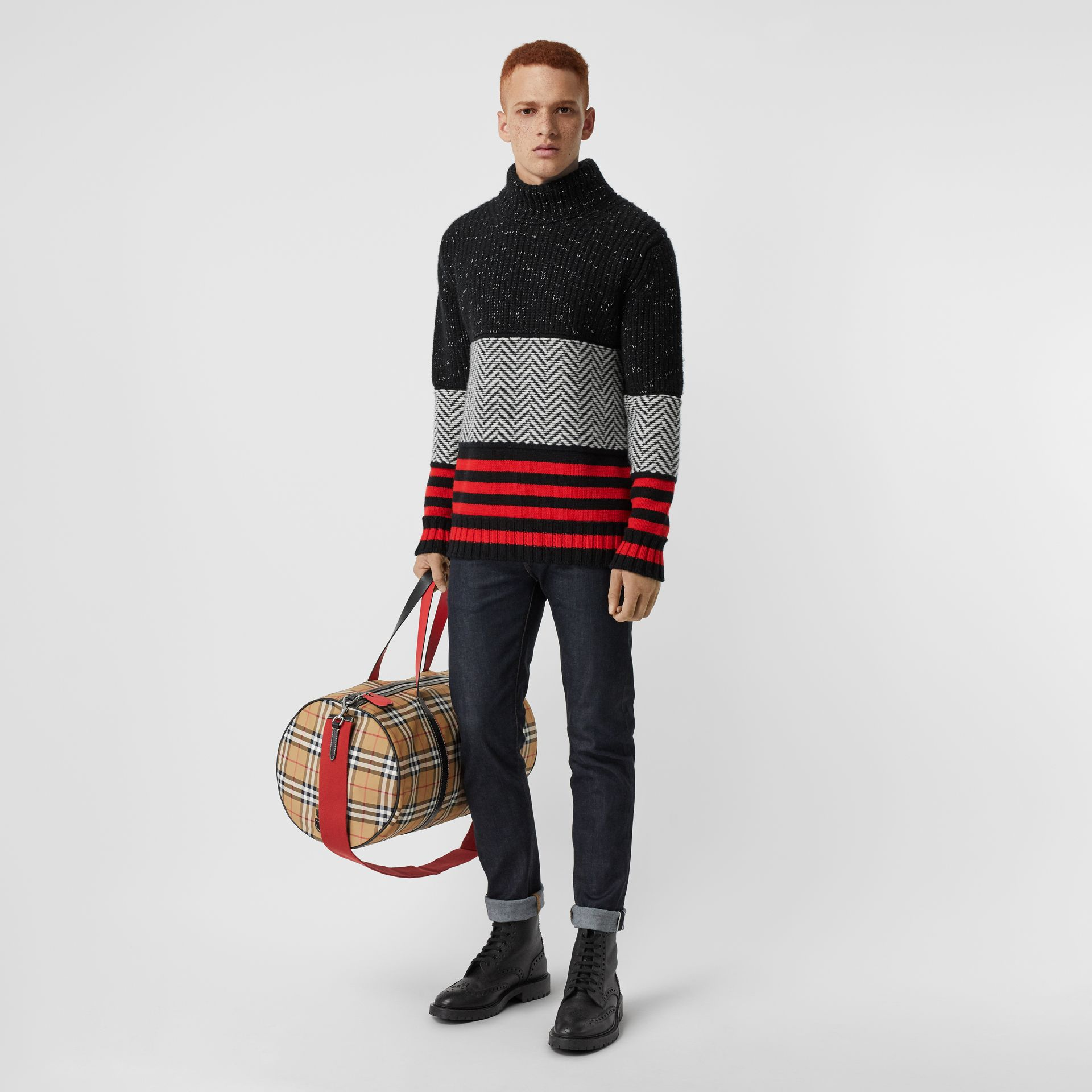 Contrast Knit Wool Cashmere Blend Sweater in Black - Men | Burberry - gallery image 0