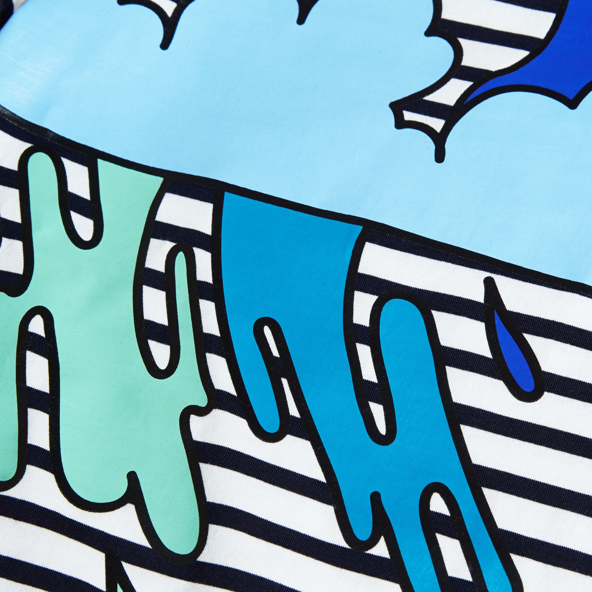 Striped Storm Cloud Print Cotton T-shirt - gallery image 2