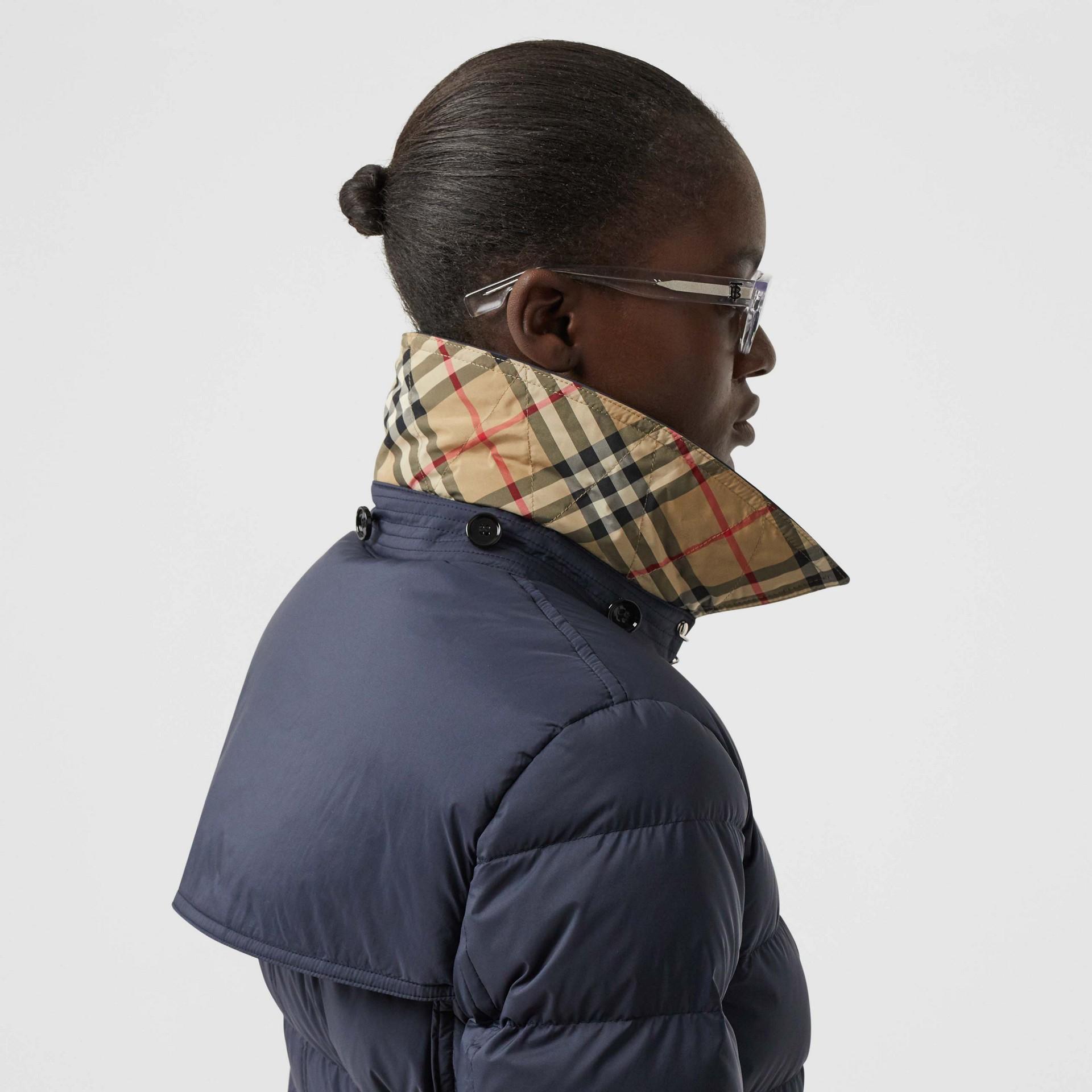 Detachable Hood Down-filled Coat in Navy - Women | Burberry - gallery image 4