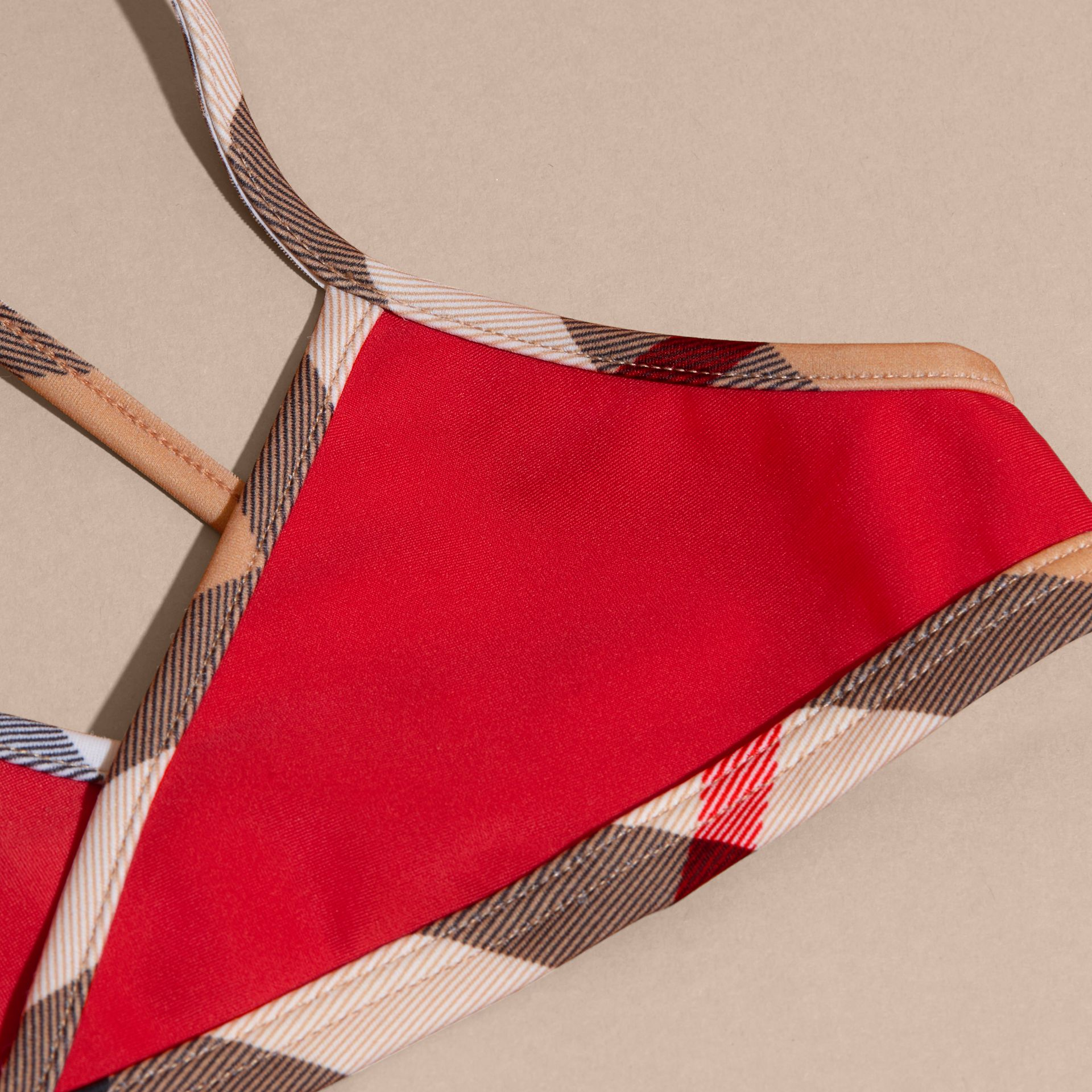 Check Trim Bikini in Poppy Red - Girl | Burberry - gallery image 2