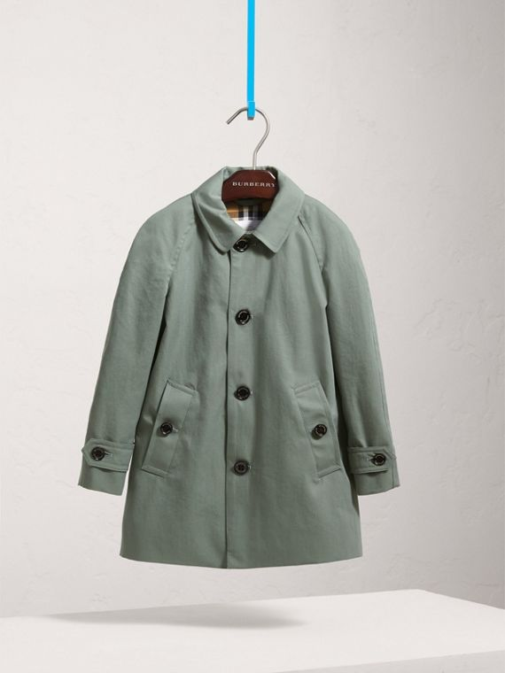 Cappotto car coat in gabardine tropicale (Blu Polvere)