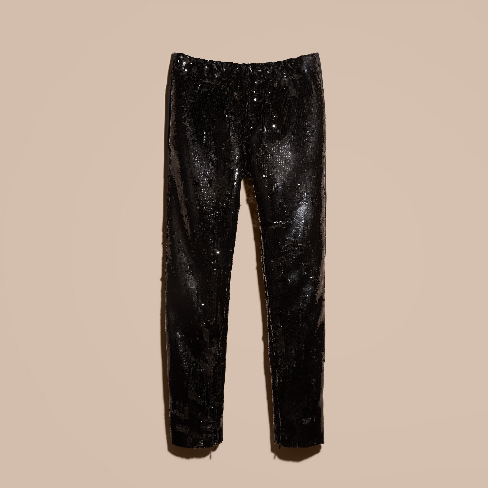 Black Sequin Track Pants - gallery image 4