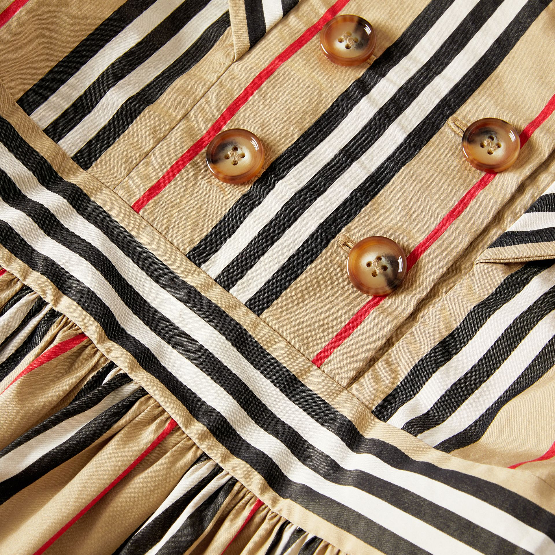 Icon Stripe Cotton Poplin Sailor Dress in Archive Beige | Burberry - gallery image 1