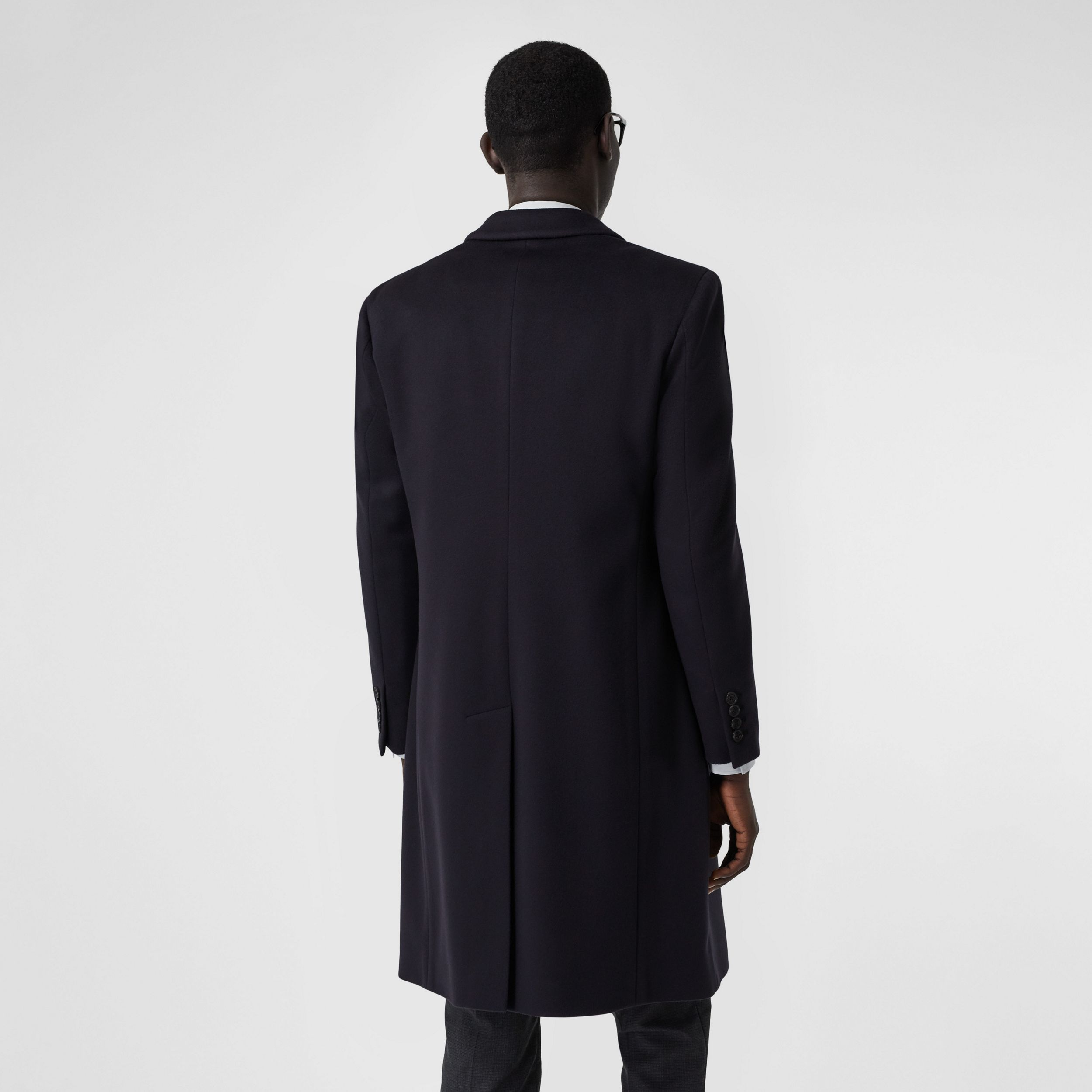 Wool Cashmere Tailored Coat in Navy - Men | Burberry - 3