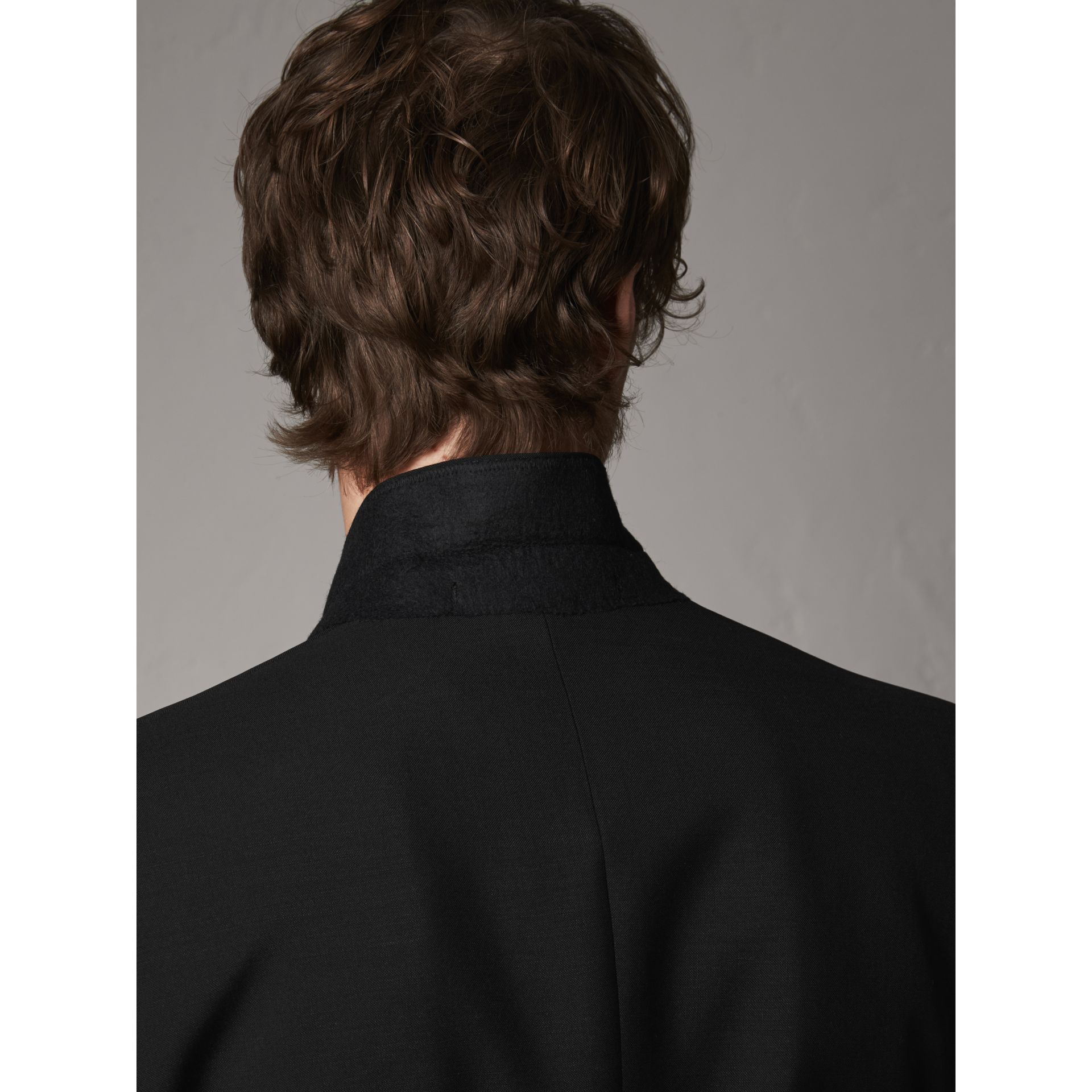 Modern Fit Wool Mohair Part-canvas Jacket in Black - Men | Burberry - gallery image 4