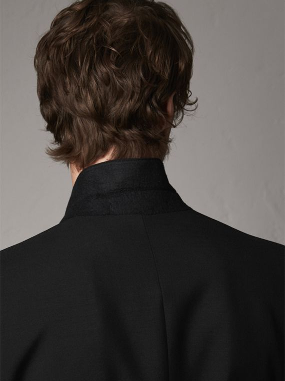 Modern Fit Wool Mohair Part-canvas Jacket in Black - Men | Burberry - cell image 3