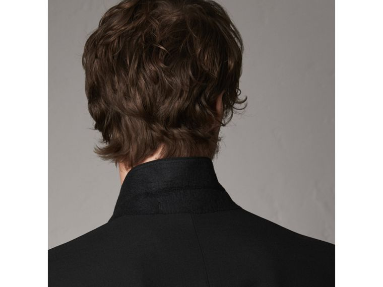 Modern Fit Wool Mohair Part-canvas Jacket in Black - Men | Burberry United States - cell image 4