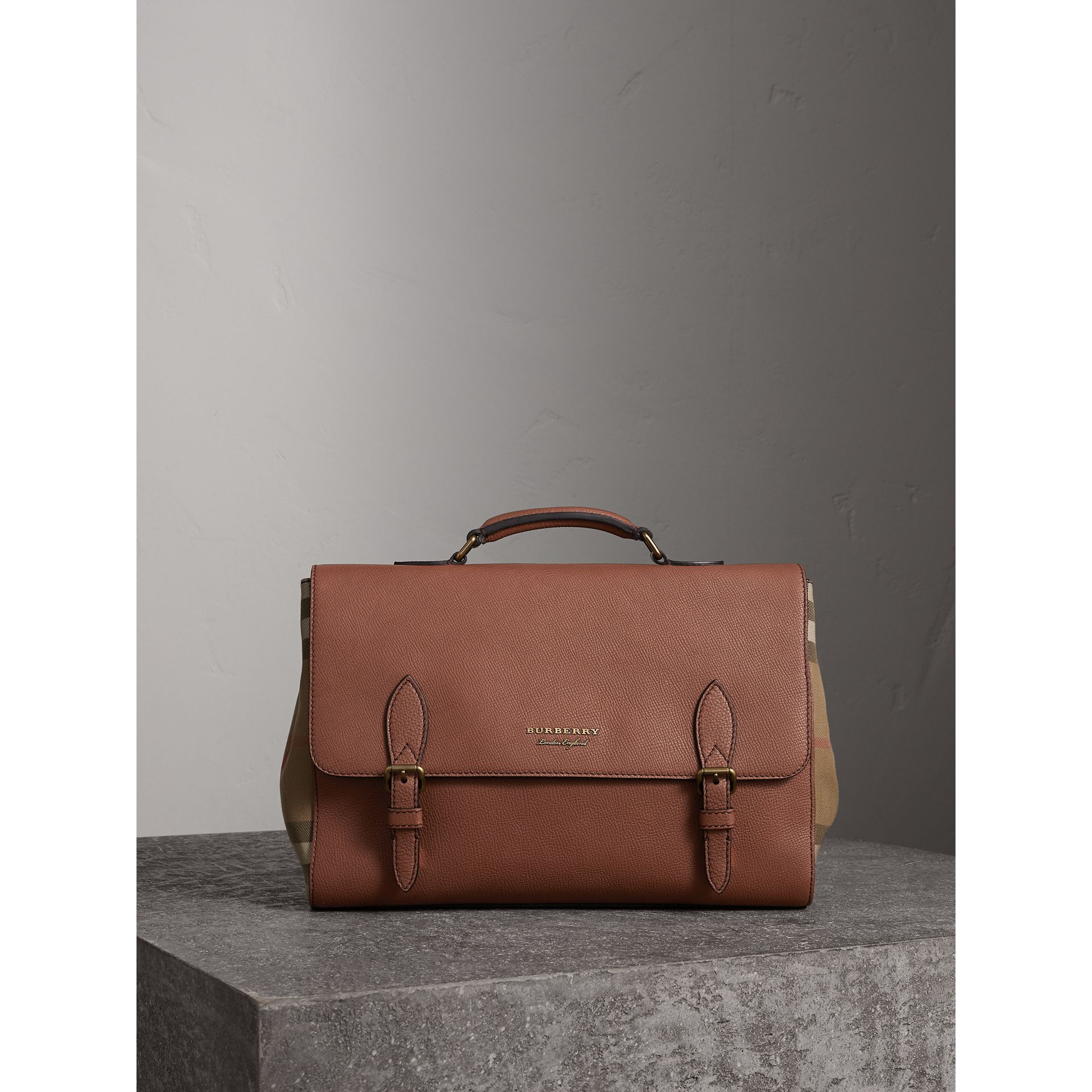 Leather and House Check Satchel in Chestnut Brown - Men | Burberry - gallery image 0