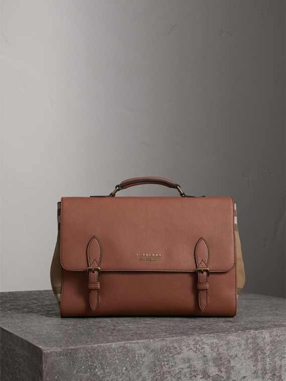 Leather and House Check Satchel in Chestnut Brown